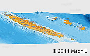Political Shades Panoramic Map of New Caledonia, satellite outside, bathymetry sea