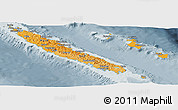 Political Shades Panoramic Map of New Caledonia, semi-desaturated