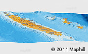 Political Shades Panoramic Map of New Caledonia, shaded relief outside, bathymetry sea