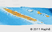 Political Shades Panoramic Map of New Caledonia, single color outside