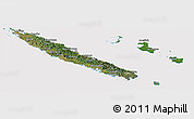 Satellite Panoramic Map of New Caledonia, cropped outside