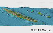 Satellite Panoramic Map of New Caledonia, political shades outside, satellite sea