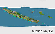 Satellite Panoramic Map of New Caledonia, semi-desaturated, land only