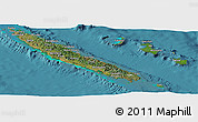 Satellite Panoramic Map of New Caledonia, shaded relief outside, satellite sea