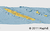 Savanna Style Panoramic Map of New Caledonia, single color outside