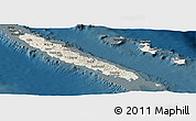 Shaded Relief Panoramic Map of New Caledonia, darken