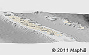 Shaded Relief Panoramic Map of New Caledonia, desaturated