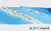 Shaded Relief Panoramic Map of New Caledonia, physical outside