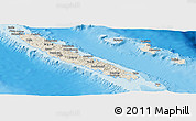 Shaded Relief Panoramic Map of New Caledonia, political outside, shaded relief sea