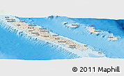 Shaded Relief Panoramic Map of New Caledonia, political shades outside, shaded relief sea