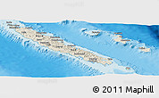 Shaded Relief Panoramic Map of New Caledonia, satellite outside, shaded relief sea
