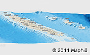 Shaded Relief Panoramic Map of New Caledonia, semi-desaturated, land only