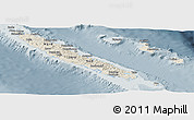 Shaded Relief Panoramic Map of New Caledonia, semi-desaturated