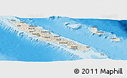 Shaded Relief Panoramic Map of New Caledonia, single color outside