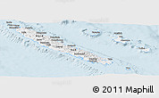 Silver Style Panoramic Map of New Caledonia