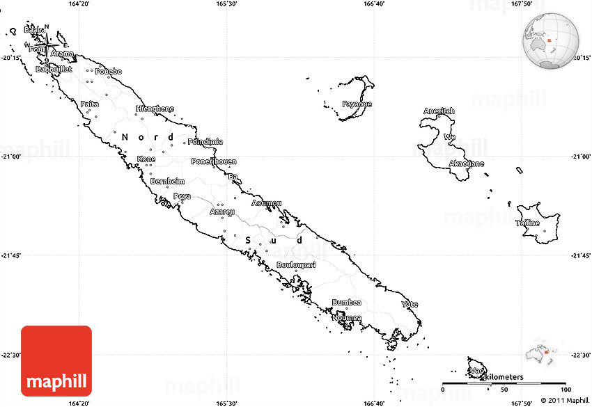 Blank Simple Map Of New Caledonia - New caledonia map