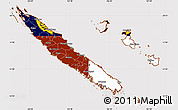 Flag Simple Map of New Caledonia, flag rotated