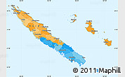 Political Simple Map of New Caledonia, political shades outside