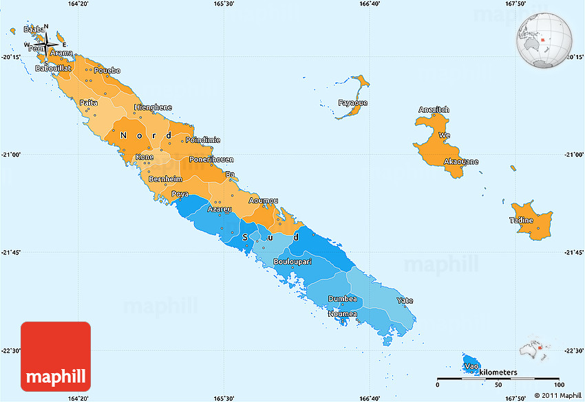 Political Simple Map Of New Caledonia - New caledonia map