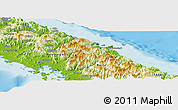 Physical Panoramic Map of Thio