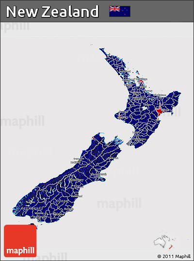 Flag 3D Map of New Zealand
