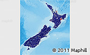 Flag 3D Map of New Zealand, shaded relief outside