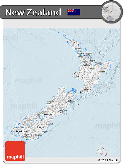 Gray 3D Map of New Zealand