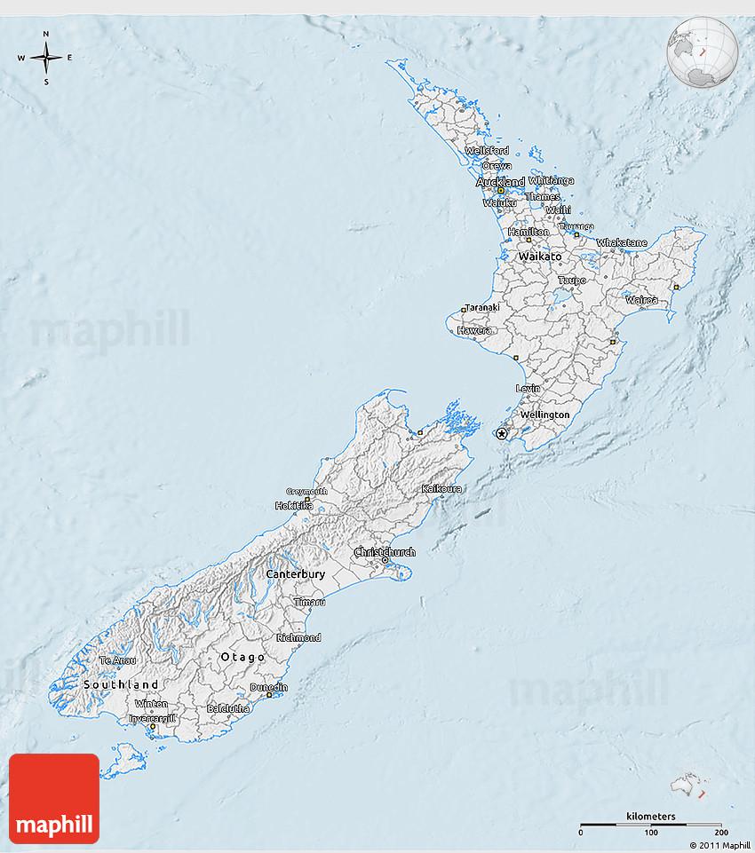 3d Map Of New Zealand.Gray 3d Map Of New Zealand