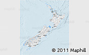 Gray 3D Map of New Zealand, single color outside