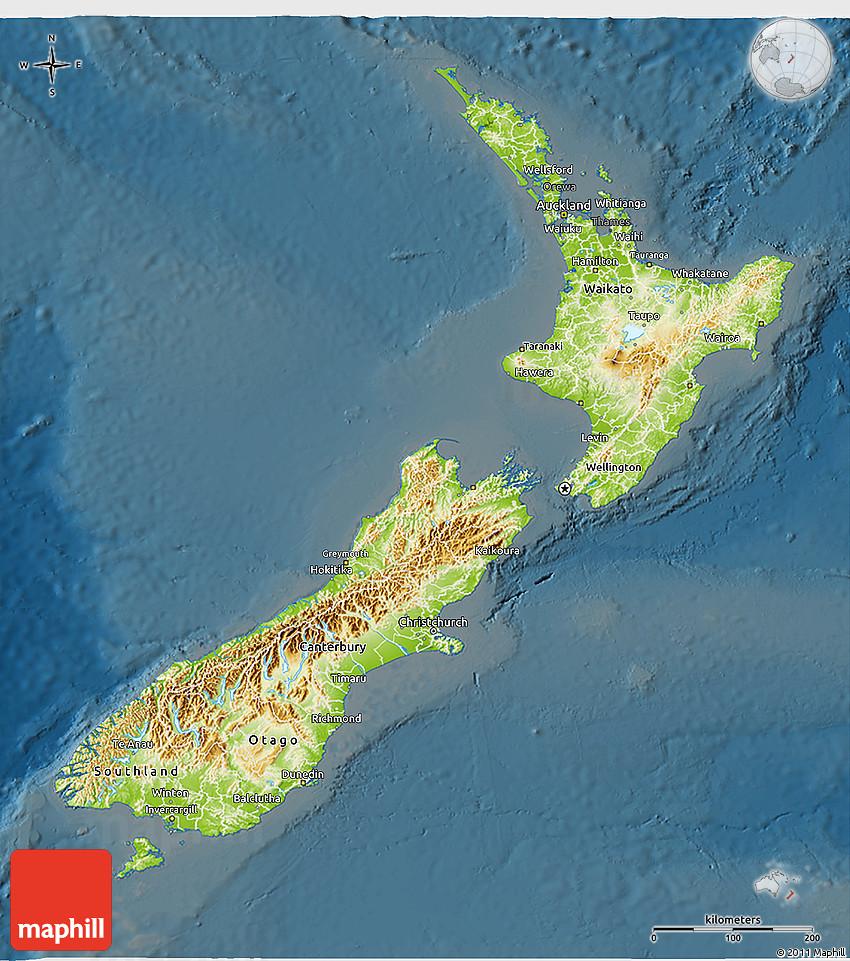 Physical 3d Map Of New Zealand Darken