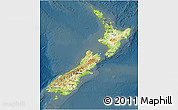Physical 3D Map of New Zealand, darken