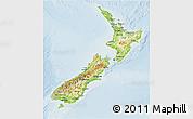 Physical 3D Map of New Zealand, lighten