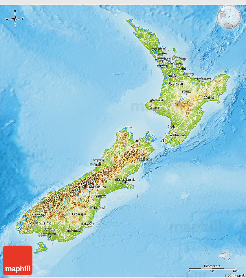 Physical D Map Of New Zealand - Map new zealand