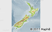 Physical 3D Map of New Zealand, semi-desaturated