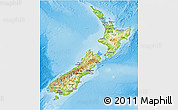 Physical 3D Map of New Zealand, single color outside