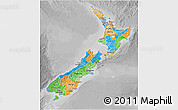 Political 3D Map of New Zealand, desaturated