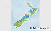 Political 3D Map of New Zealand, lighten