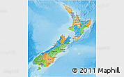 Political 3D Map of New Zealand, physical outside