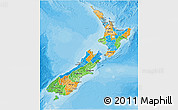 Political 3D Map of New Zealand, political shades outside