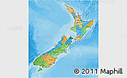 Political 3D Map of New Zealand, satellite outside, bathymetry sea