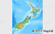 Political 3D Map of New Zealand, semi-desaturated, land only