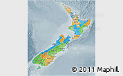 Political 3D Map of New Zealand, semi-desaturated
