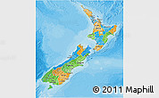 Political 3D Map of New Zealand, shaded relief outside, bathymetry sea