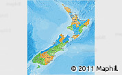 Political 3D Map of New Zealand, single color outside