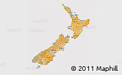 Political Shades 3D Map of New Zealand, cropped outside