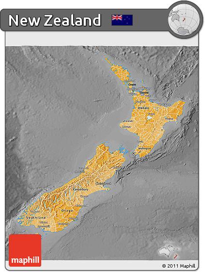 Political Shades 3D Map of New Zealand, darken, desaturated