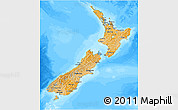 Political Shades 3D Map of New Zealand, darken, desaturated, land only