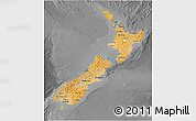 Political Shades 3D Map of New Zealand, darken, desaturated