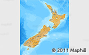 Political Shades 3D Map of New Zealand, darken, land only