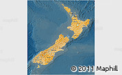 Political Shades 3D Map of New Zealand, darken
